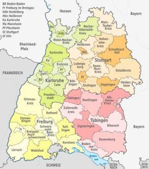 Kreiskarte von Baden-Württemberg