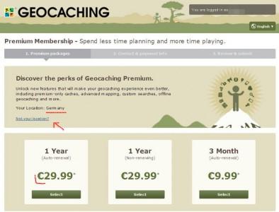 Premiummitgliedschaft Euro-Preise