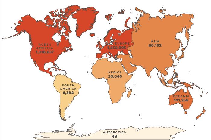 Verteilung der Geocaches in der Welt